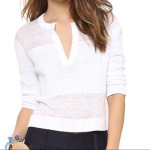 Alice + Olivia Shena cropped white linen sweater
